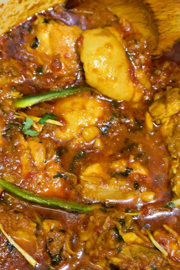 close up of chicken masala