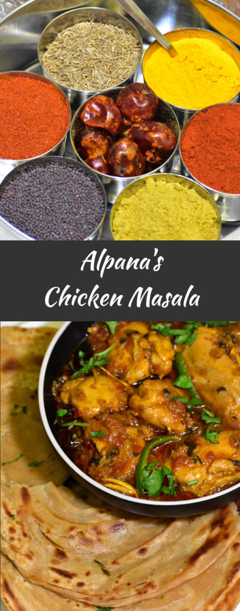 an indian spice box with chicken masala displaed below