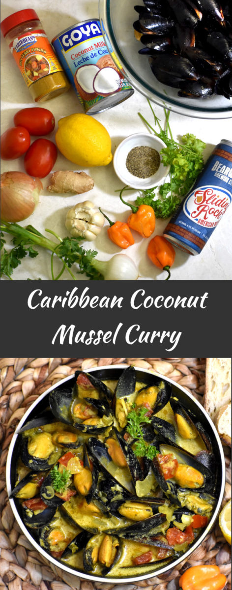 Ingredients for caribbean coconut mussel curry with the finished product below