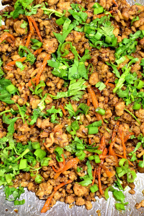 close up of meat mixture for chicken lettuce wraps