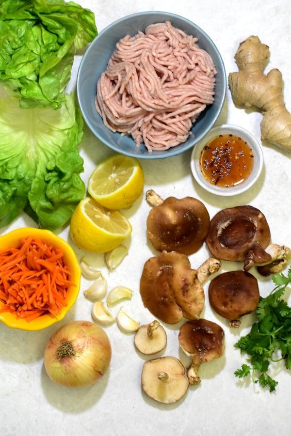 ingredientes para los wraps de lechuga con pollo sobre fondo blanco