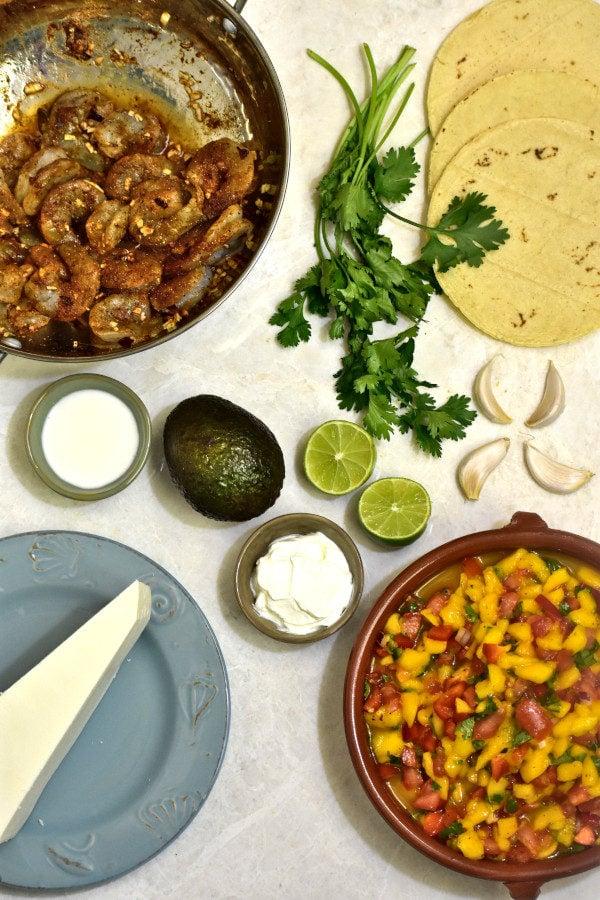 ingredients for chili lime shrimp tacos