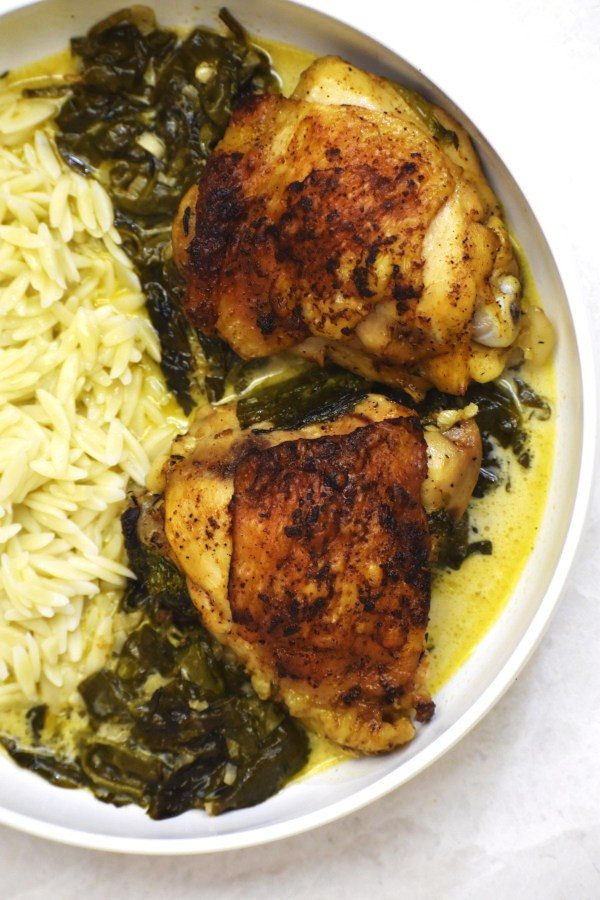 Creamy Lemon Chicken plated with orzo.