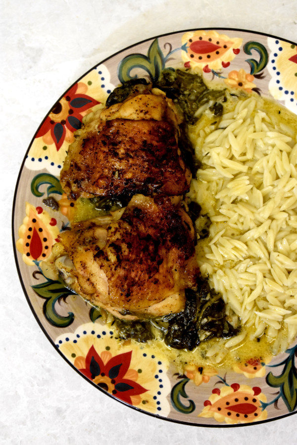 Creamy Lemon Chicken with orzo on the Gypsy Plate.