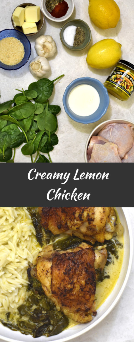 ingredients for creamy lemon chicken with finished product displayed below