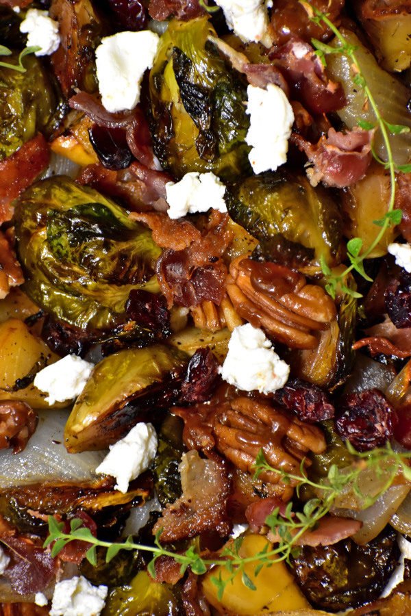 close up of fruity nutty crispy brussels sprouts