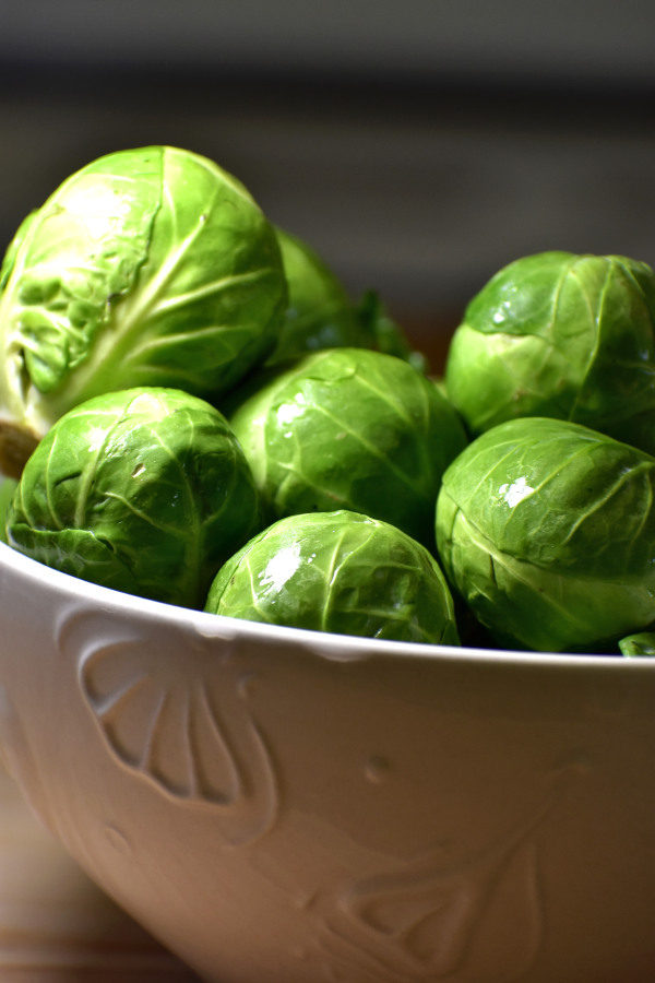 fresh brussels sprouts in a white bowl