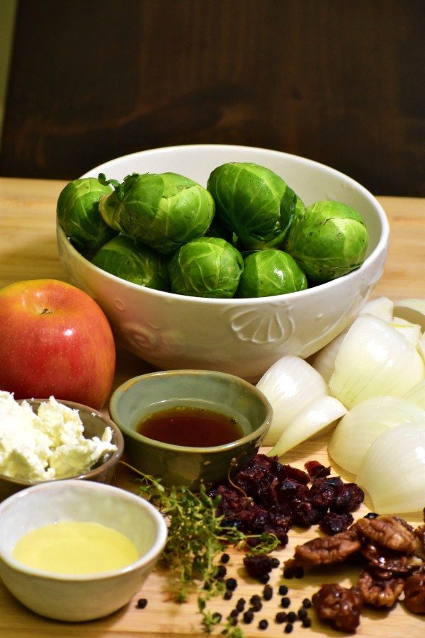 ingredients for fruity nutty crispy brussels sprouts