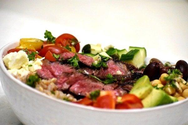 greek steak salad bowl viewed from side