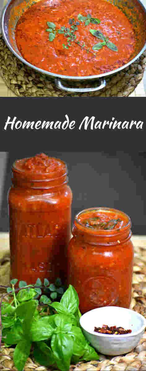 homemade marinara in a metal pan, then in two mason jars below