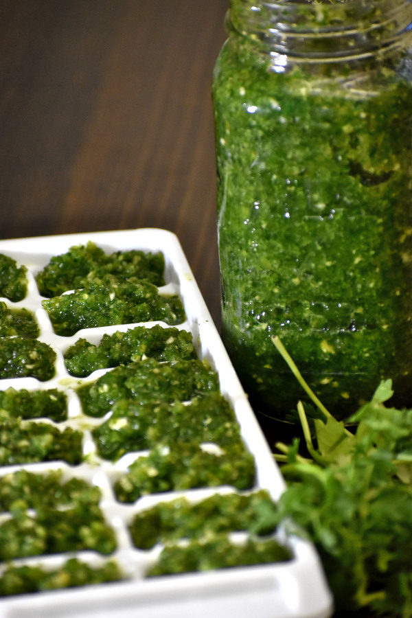 sofrito in an ice cube tray ready to freeze for storage, next to a mason jar full of sofrito