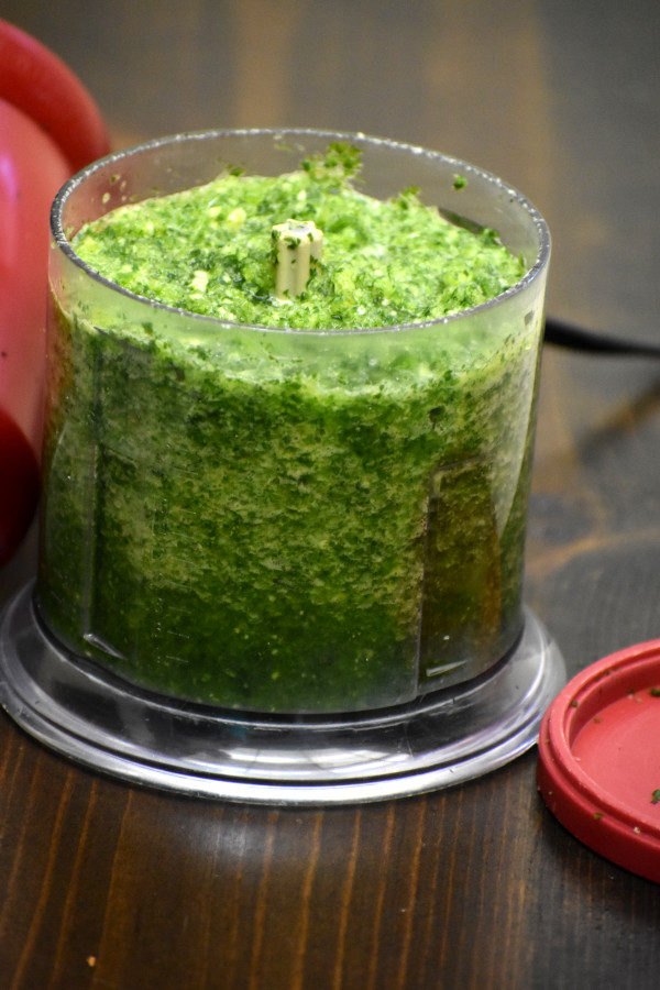 blended sofrito in food processor