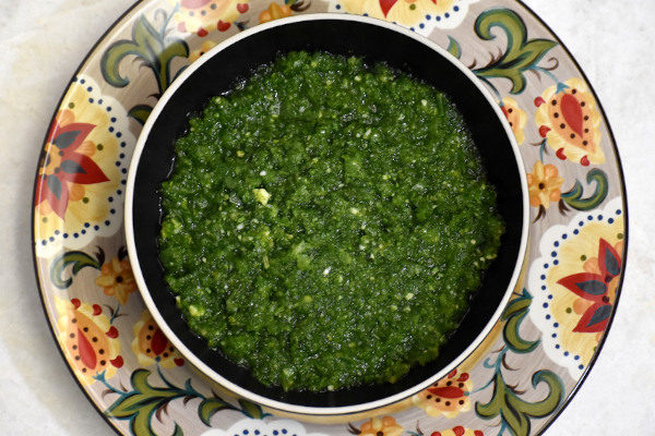 sofrito in a bowl on the gypsy plate