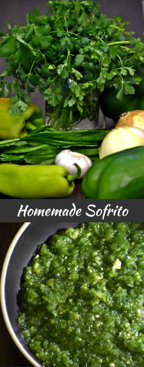 sofrito ingredients with finished product displayed below