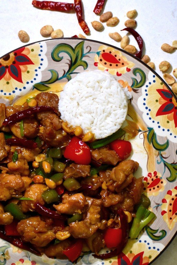 kung pao chicken on the gypsy plate with rice