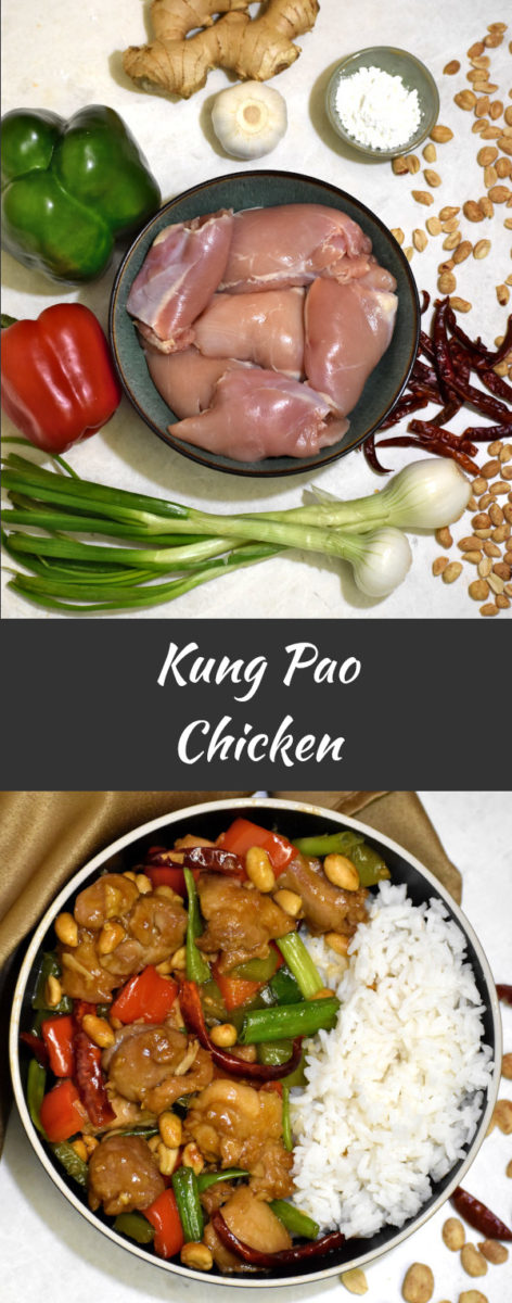 Ingredients for kung pao chicken on a white background with the finished product displayed below