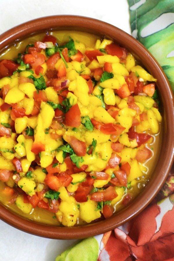 mango salsa in a cazuela bowl