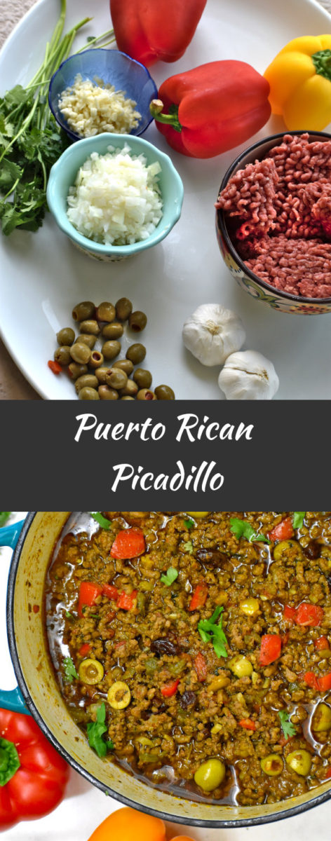 ingredients for picadillo, with the finished result displayed below