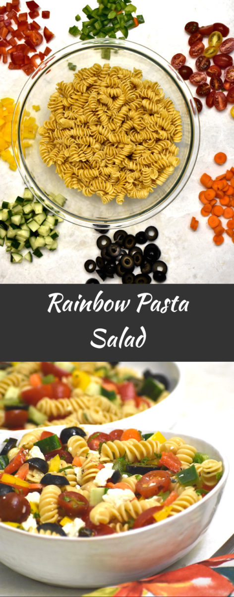 ingredients for rainbow pasta salad with finished product displayed below