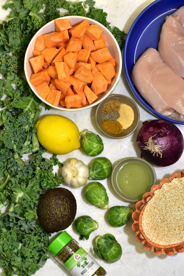 ingredients for summer detox chicken buddha bowl viewed from above