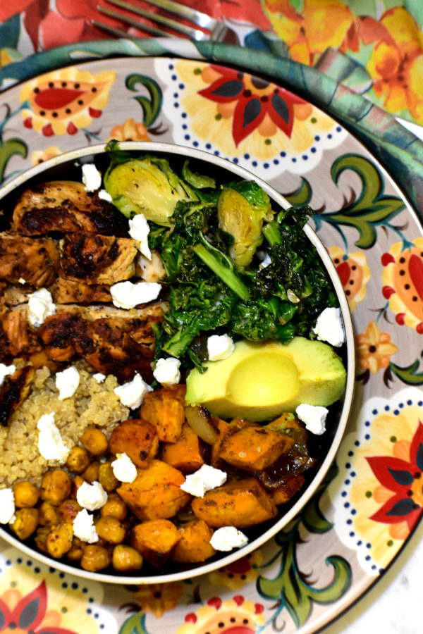 summer detox chicken buddha bowl on the gypsy plate