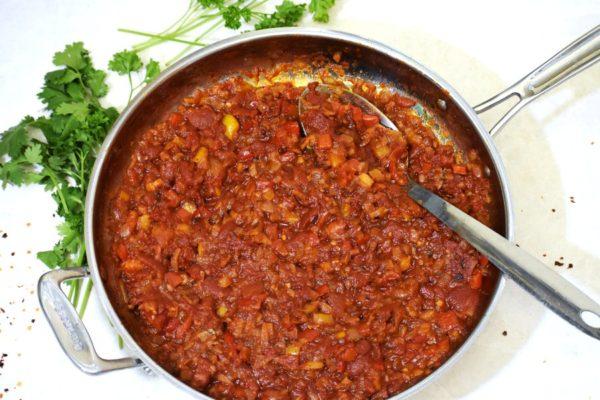 tomato base in a skillet