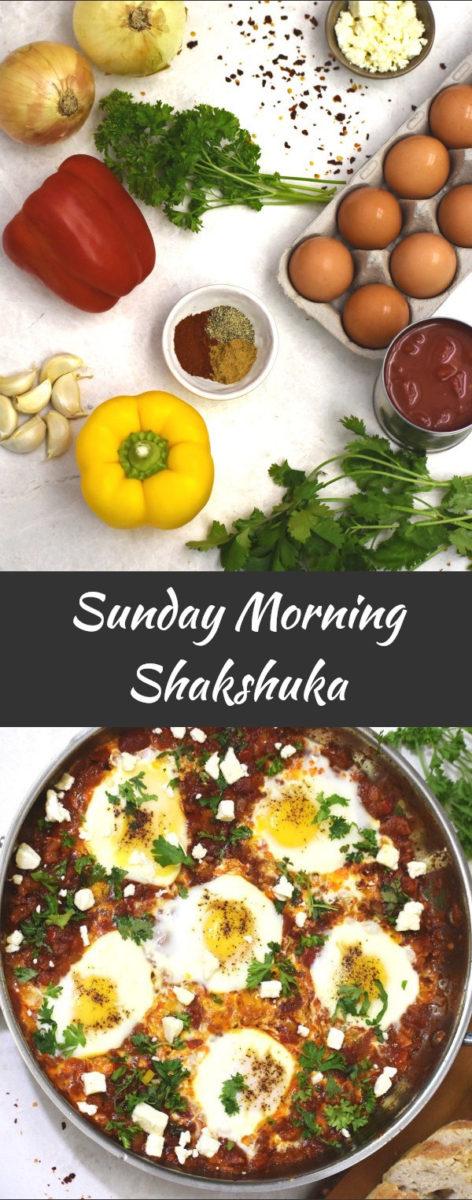 sunday morning shakshuka ingredients with finished product displayed below