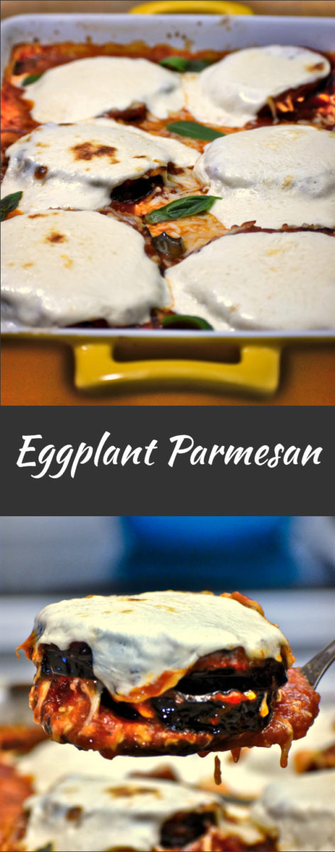 six stacks of baked eggplant parmesan in a yellow baking dish, with a close up view of one stack on a spatula displayed below