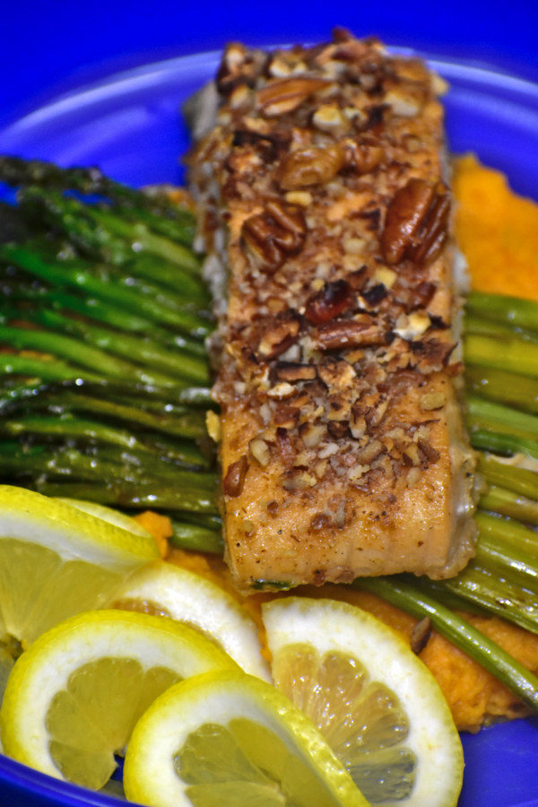 maple pecan salmon with sweet potato mash, roasted asperagus and fresh lemon slices on a blue plate