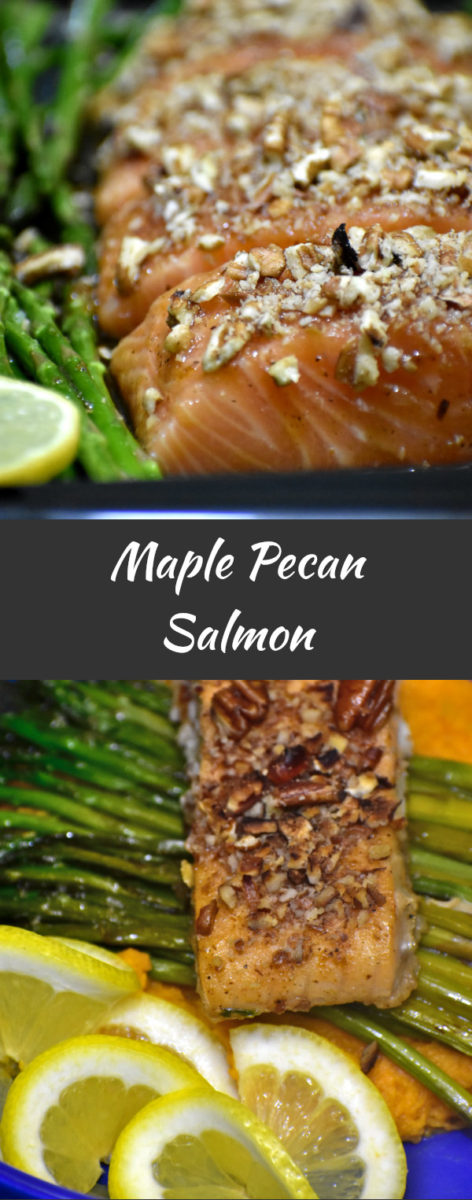 close up side view of maple pecan salmon prior to baking, with finished product displayed below on a blue plate with asperagus and mashed sweet potatoes