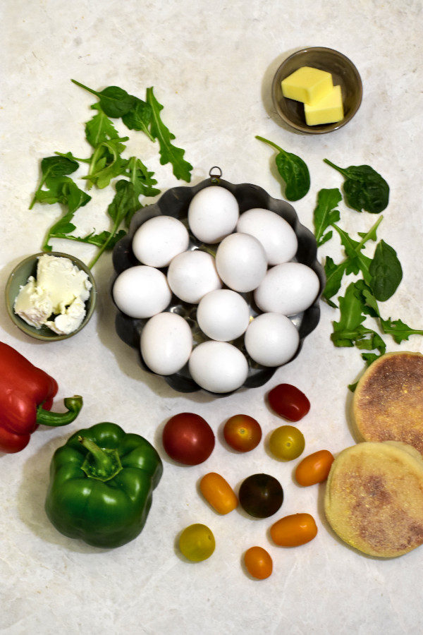 ingredients for stunning scrambled eggs on marble background