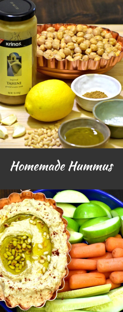vertically split image with ingredients for homemade hummus displayed above and the finished product below