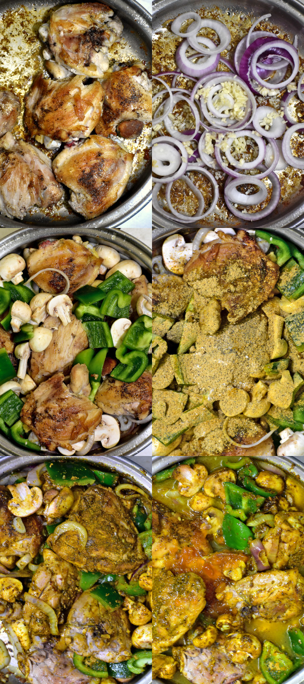 collage of six steps while creating south african chicken curry