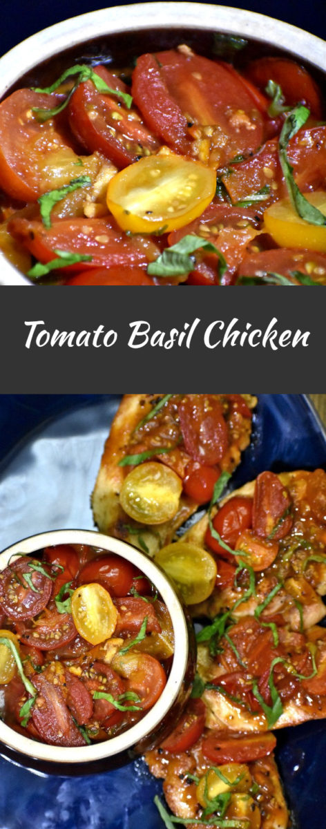 split image with halved cherry tomatoes in a basil and orange marmalade sauce in a clay bowl. below is an image of the tomato mixture spread over chicken breasts on a blue platter.