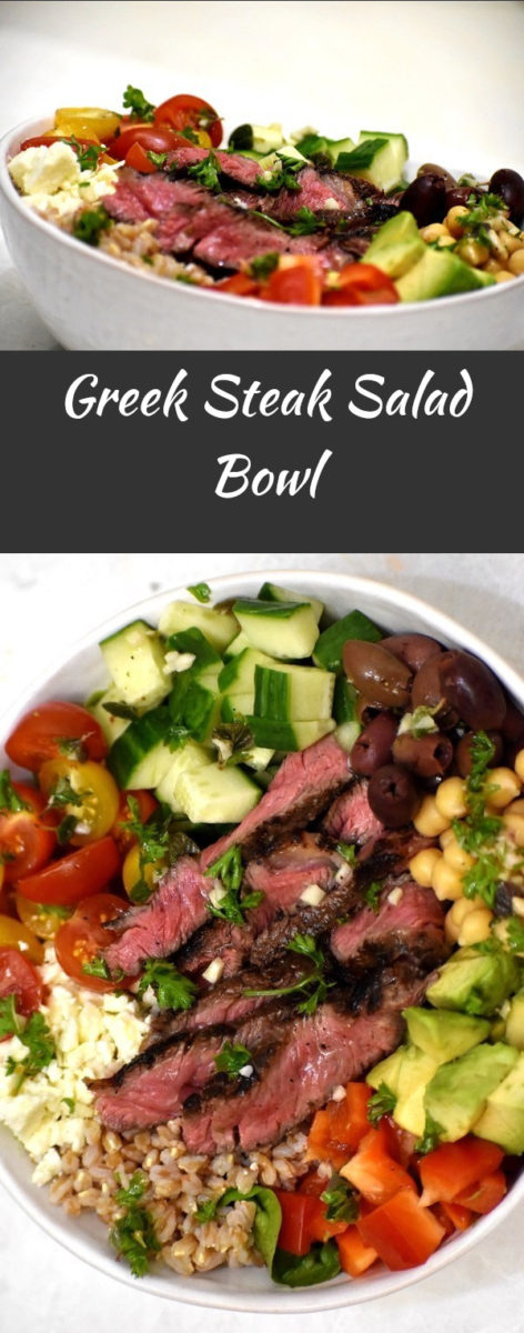 split image of greek steak salad bowl. the top picture is from the side and the bottom pipcture is overhead.