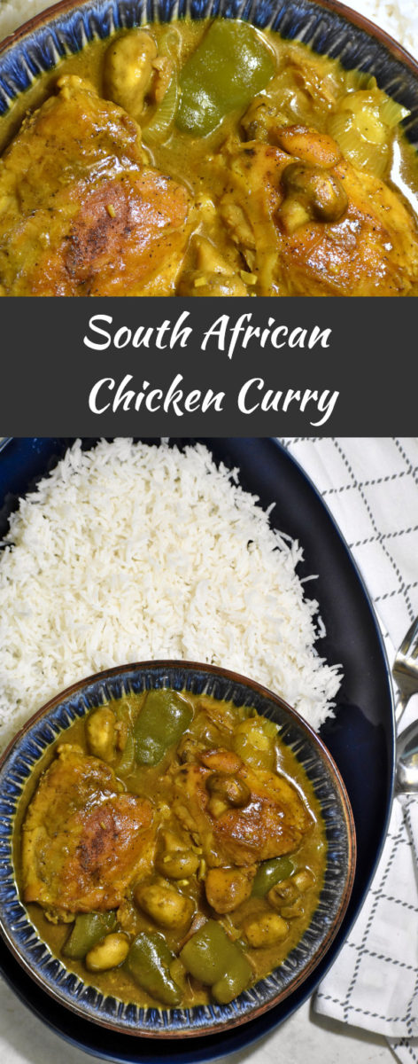 split image with close up south african chicken curry in a blue bowl above, and a zoomed out picture of the bowlful of curry on a large blue platter alongside a pile of white rice