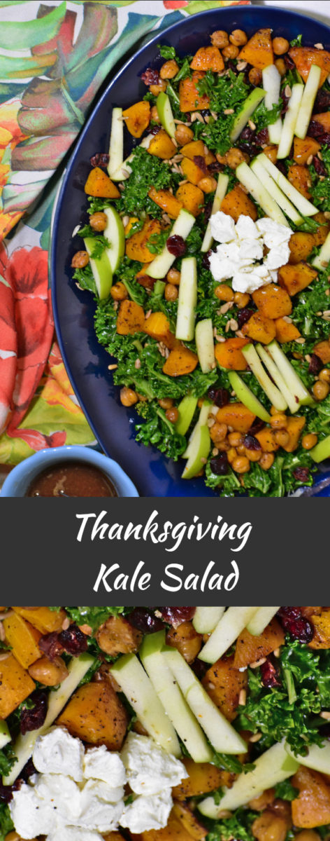 split image of kale salad on a blue platter above, and a close up picture below