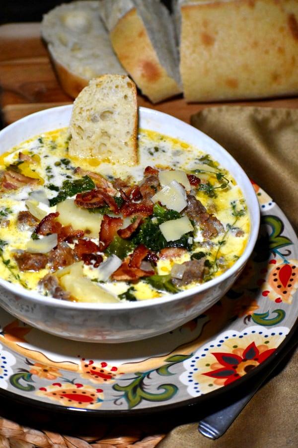 zuppa toscana in the gypsy bowl, alongside some crusty bread