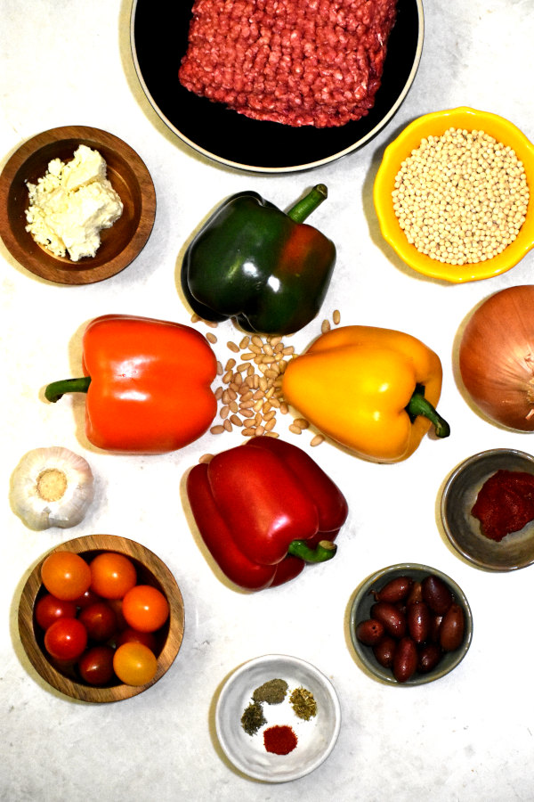 ingredients for mediterranean stuffed peppers