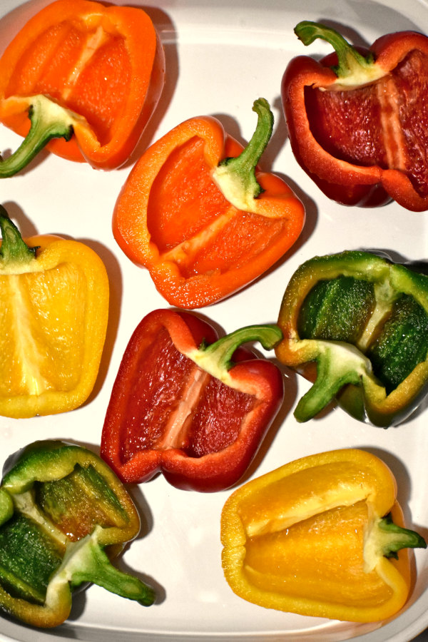 halved bell peppers
