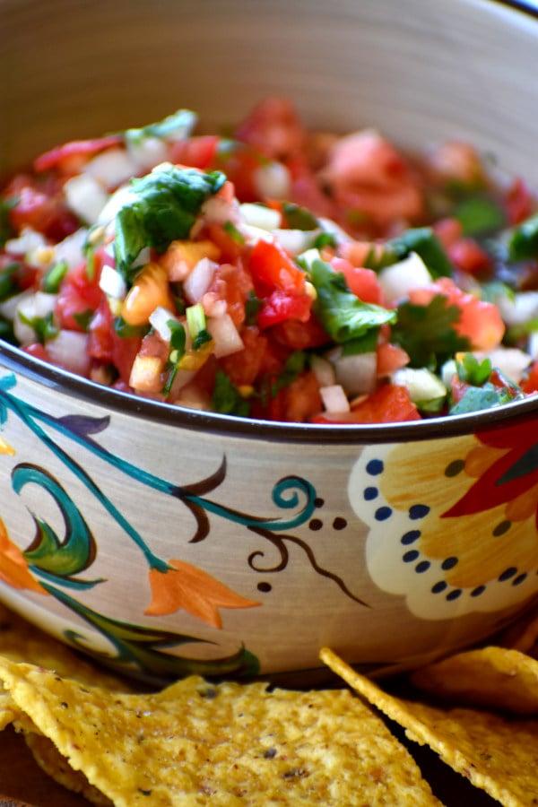pico de gallo in the gypsy bowl alongside tortilla chips