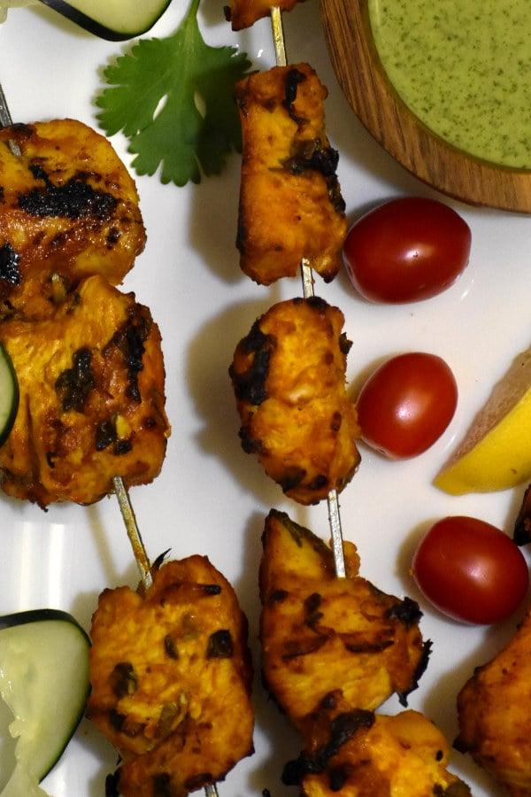 close up of chicken tikka kebabs