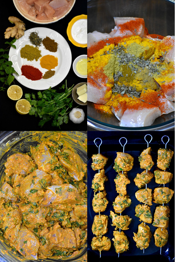 collage showing steps to make chicken tikkas