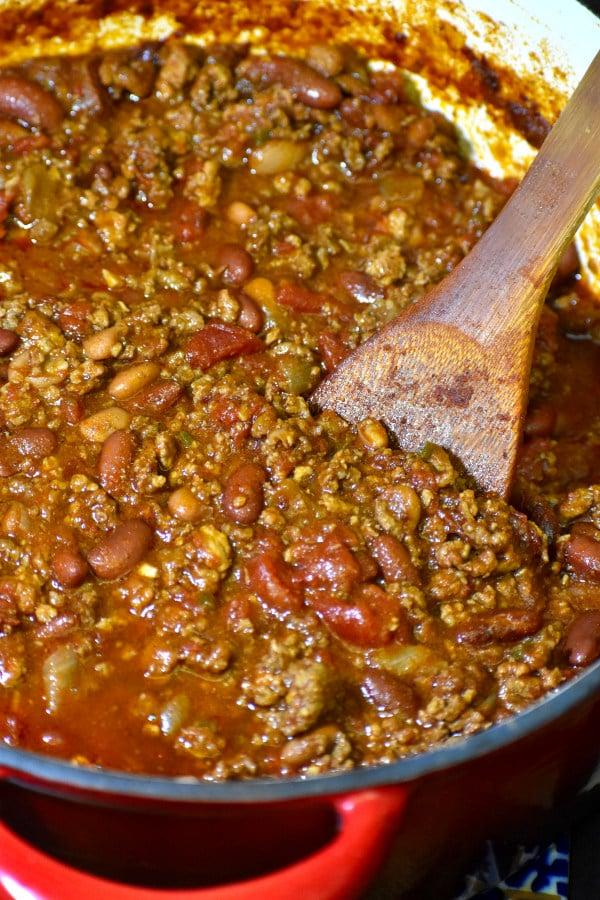 smoky chipotle chili in a dutch oven