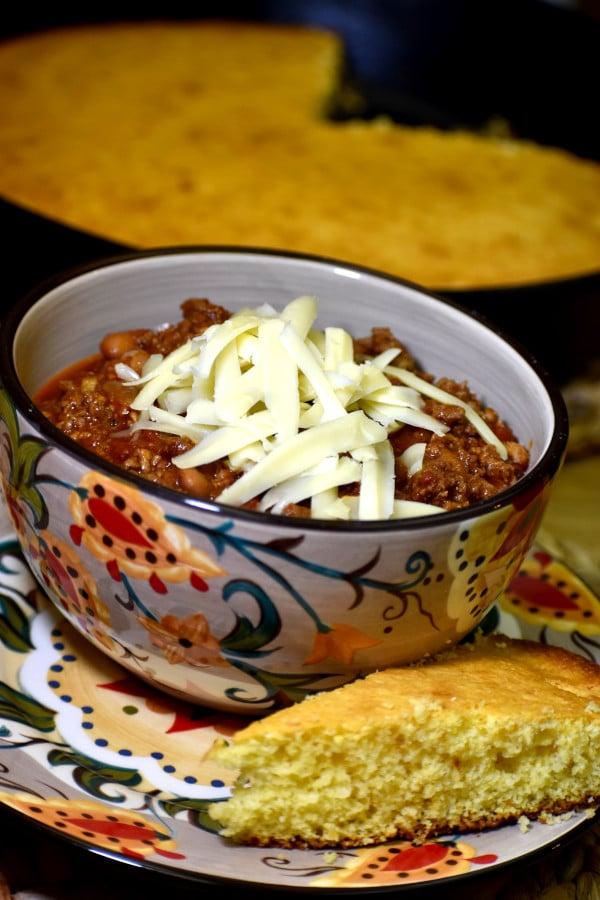 smoky chipotle chili in the gypsy bowl, alongside a slice of cornbread