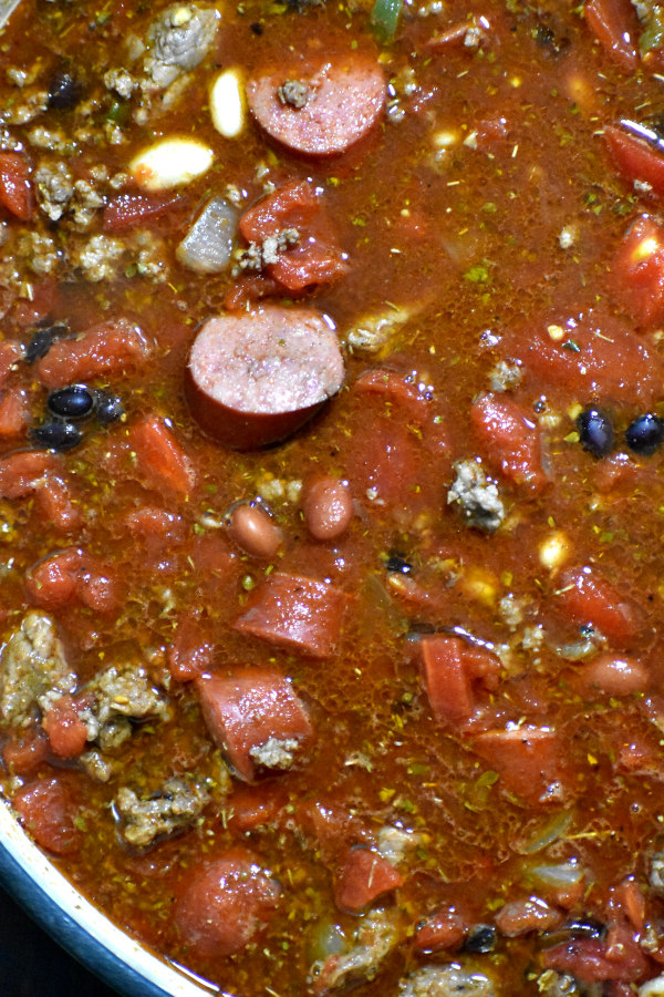 all ingredients for ultimate chili added to the pot and stirred, prior to simmering