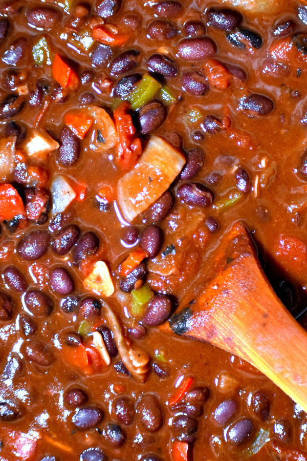 close up of vegetarian black bean chili