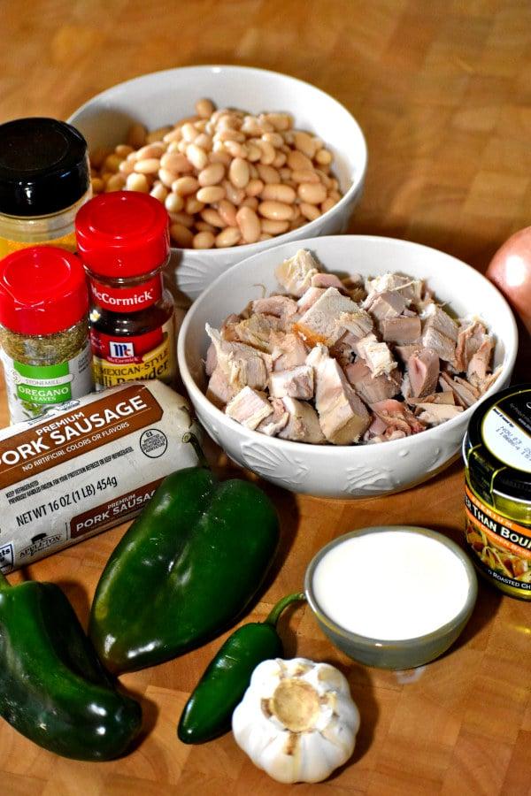 ingredients for white bean turkey chili