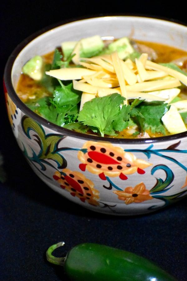 white bean turkey chili in the gypsy bowl