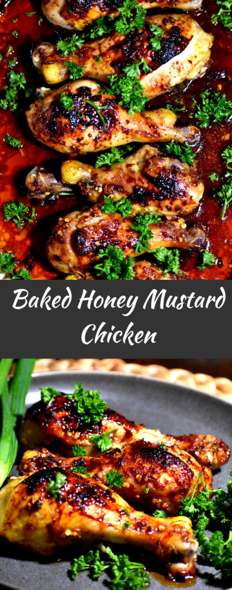 long pin of baked honey mustard chicken